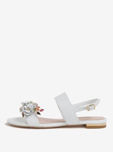 c0e379c3a4eb Biele kožené sandáliky s kvetinovou ozdobou Dune London Kiko - Glami.sk