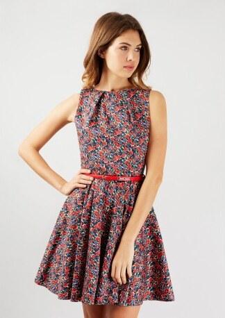 60cae6bc3b83 Dámské květinové šaty s červeným páskem Closet Closet D3971 - Glami.cz