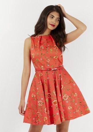 500d341c3cf4 Dámské červené šaty Closet s květinovým motivem Closet D3439 - Glami.cz