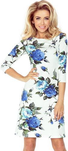 66ba7f8c72c numoco Dámské šaty s 3 4 rukávem a motivem květin v modré barvě bílé ...
