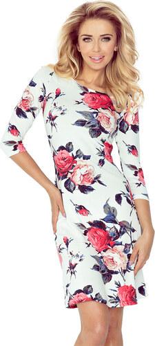 36daa3460f0 numoco Dámské šaty na denní nošení s 3 4 rukávem a motivem květin bílé