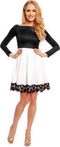 MAYAADI Dámské společenské šaty s dlouhým rukávem a skládanou sukní  černo-bílé 5a4daf530b