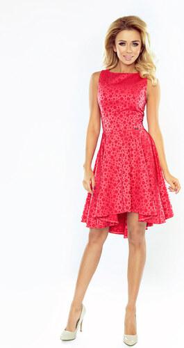 290aad9b4a08 numoco Společenské dámské šaty s asymetrickou sukní a kolečky malinové