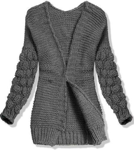878cbe15f6e Butikovo Tmavě šedý pletený svetr s balónovými rukávy - Glami.cz