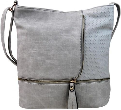 8cade82db93e Sara Bag Módna crossbody kabelka so zlatými doplnkami F1379 sivá ...