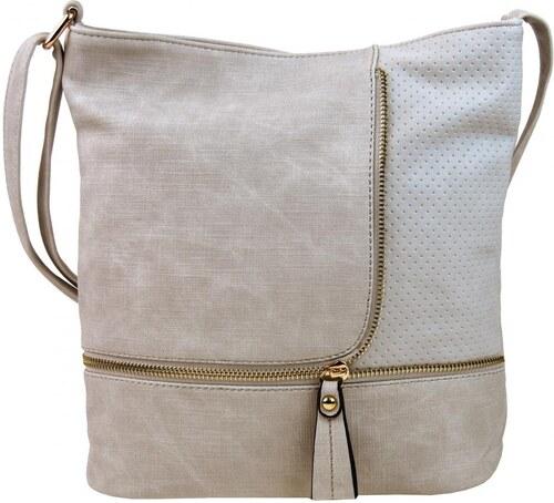 12b7259d61 Sara Bag Módna crossbody kabelka so zlatými doplnkami F1379 svetlo hnedá