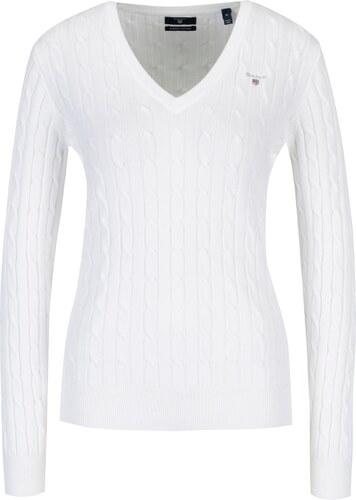 abec1e0be31 Bílý dámský pletený svetr s véčkovým výstřihem GANT - Glami.cz
