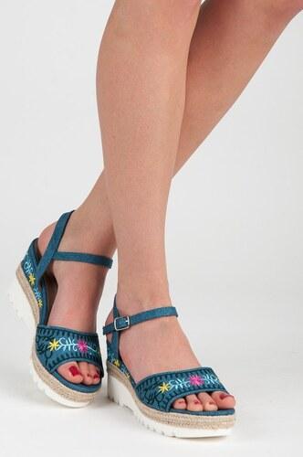 5fb43ad682b5 Kylie Modré sandále espadrilky s výšivkou - Glami.sk
