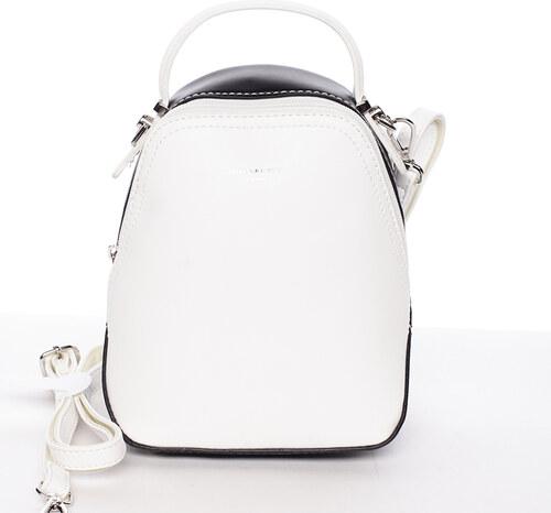 Malý dámsky mestský batoh kabelka bielo čierny - David Jones Lefteris biela a997dd686c