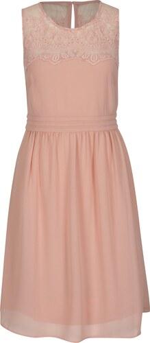 Růžové šaty s krajkou VERO MODA Vanessa - Glami.cz 832dbf09ad