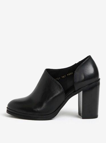 bb17b01411278 Čierne dámske kožené topánky na vysokom podpätku Royal RepubliQ ...