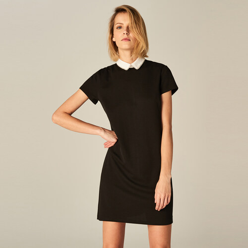 bcc62198856a Mohito - Elegantné šaty s kontrastným golierom - Čierna - Glami.sk