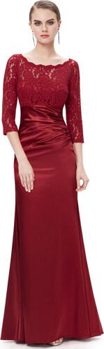 5d888f6d8b6 Ever-Pretty Elegantní vínově červené večerní šaty s tříčtvrtečními rukávy