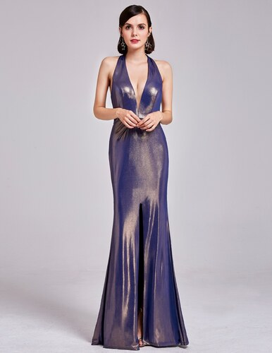 bd21c655981 Ever-Pretty Fialovo-zlaté lesklé šaty s hlubokým výstřihem a holými zády