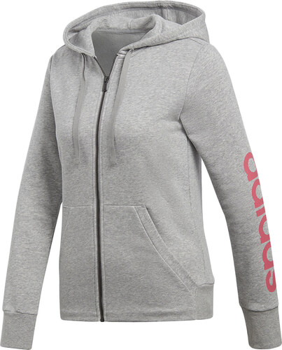 af7cc8f16453 adidas PERFORMANCE Dámská šedá mikina Essentials Linear Full Zip Hoodie