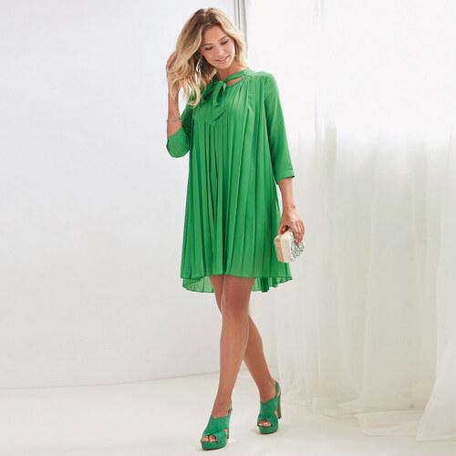 VENCA Plisované šaty so 3 4 rukávmi zelená S - Glami.sk 80b7891574