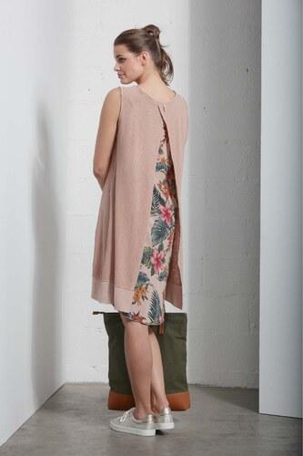 55879312196c Deha béžové oversize šaty s tropickými motívmi na chrbte - Glami.sk