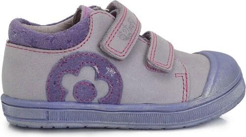 fb0ec7091f7a9 Ponte 20 Dievčenské kožené topánky s kvetinkou- fialové - Glami.sk