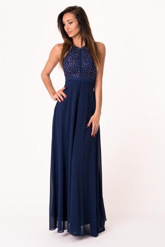 202901f93332 Dámské společenské šaty EVA LOLA bez rukávů dlouhé tmavě modré ...