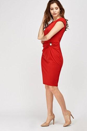 f025b6d5263e COLLECTION London Červené jednoduché šaty se sponou v pase - Glami.cz