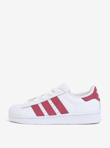 65a4ebe4d20d Biele detské kožené tenisky s červenými detailmi adidas Originals ...