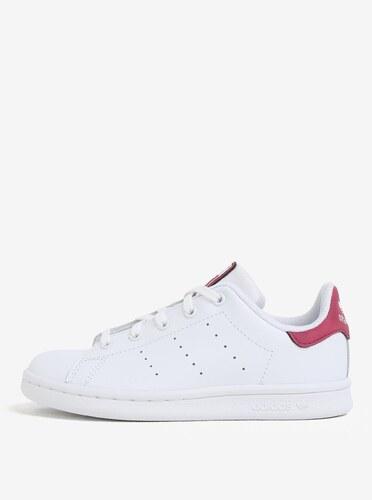 Růžovo-bílé dětské kožené tenisky adidas Originals Stan Smith C ... 1ffe5afab7