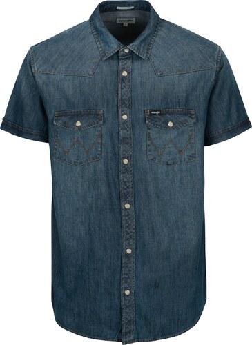 Modrá pánská džínová regular fit košile Wrangler Western - Glami.cz 56aa6b24ef