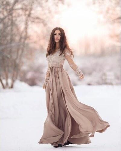 0a6f8a6605b BELLA Elegantní šaty Leila capuccino 36 - Glami.cz