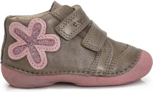 1f7ea75ef4b D.D.step Dívčí kotníkové boty s květinou - šedo-růžové - Glami.cz