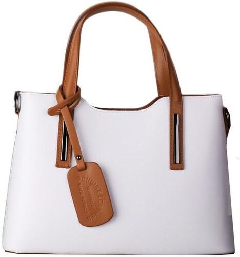 ITALSKÉ Italské luxusní kožené kabelky na rameno Carina bílomedové ... d3f52026bf7