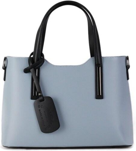 Talianske casual kožené kabelky do ruky stredné luxusné Carina modročierne d3127484b31