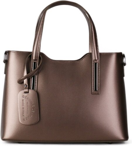 9988e6b5f ITALSKÉ Luxusní metalicky hnědé kožené kabelky Carina střední, Top nabídka,  Sleva