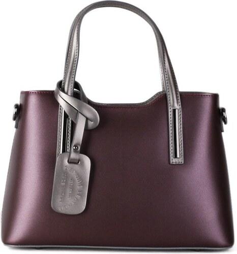 9ac89ddc51a Talianske kožené kabelky luxusné na rameno Carina fialové so striebornou