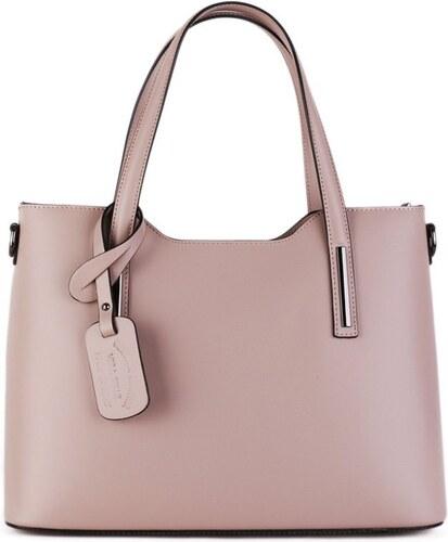 ITALSKÉ Kožené kabelky Vera Pelle velké Carina pudrově růžová bf9984f88e4