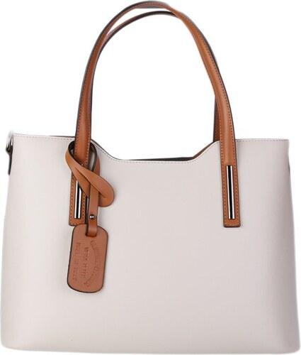 e3e1aff9c2 -10% TALIANSKE Talianska kožená kabelka na rameno béžová s camel Carina  veľká