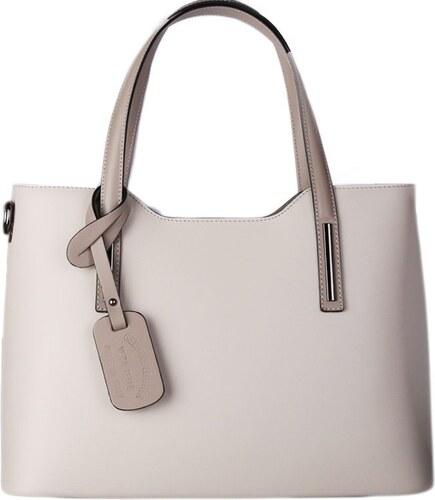 ITALSKÉ Kožené Italské kabelky na rameno béžová s taupe Carina velká ... 504bfb38035