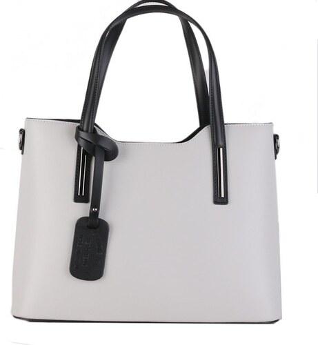 e420406210 ITALSKÉ Kožené kabelky na rameno Italské Carina bíla s černou velká ...