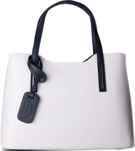 8ad95c0e5f -10% TALIANSKE Talianska kožená kabelka na rameno bielomodrá Carina veľká