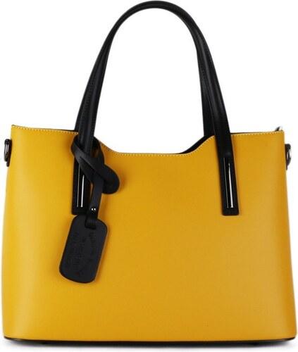 1886d963b8 -10% TALIANSKE Talianska Luxusné kožené kabelky do práce Vera Pelle žlté  Carina veľké A4