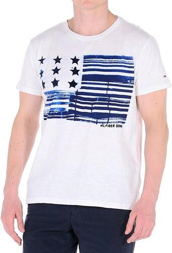10f0898415 Tommy Hilfiger pánske biele tričko s potlačou - Glami.sk