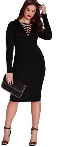 MISSGUIDED Úzke čierne šaty s dizajnovým dekoltom - Glami.sk fc9e8215314