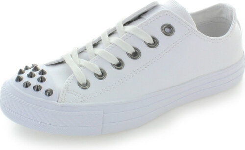 -14% Converse Dámské bílé kožené nízké tenisky Chuck Taylor All Star Studs ebbd388698
