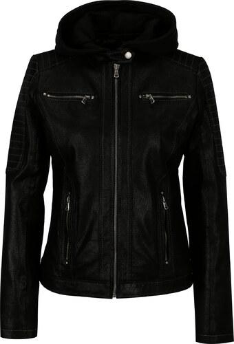 Čierna dámska kožená bunda s kapucňou KARA Maria - Glami.sk 232fccb6ef3