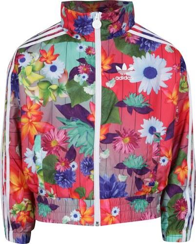 7b16fb83d Růžová holčičí květovaná bunda adidas Originals - Glami.cz