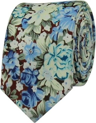 05c629fa0a2 Quentino Modrá květovaná pánská bavlněná kravata - Glami.cz