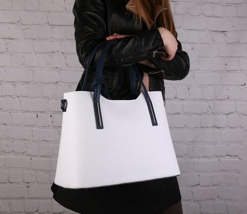 ITALSKÉ Kožené trendové kabelky na rameno Carina velká bíla s modrou ... d11e3941d77