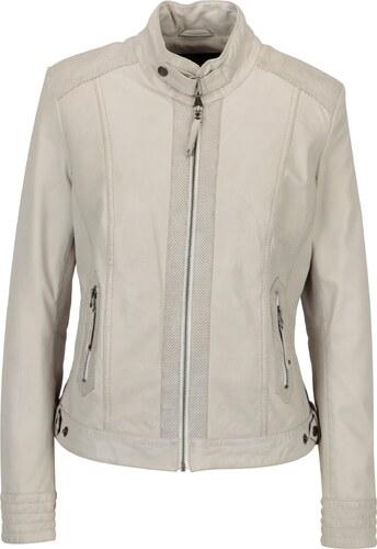Krémová dámská kožená bunda s perforovanými detaily KARA Zafira ... 14f9c5c16c5