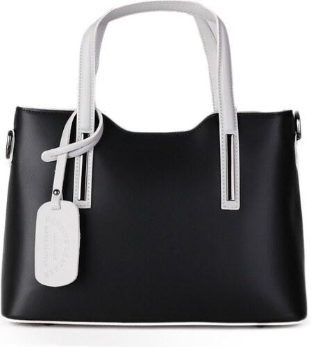 Talianske casual kožené kabelky do ruky stredné luxusné Carina čierna so  sivou d7d0a2a8def