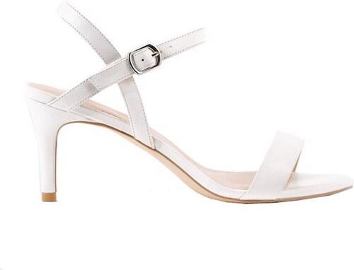 a45f684e4a81 NEW LOOK Biele remienkové sandále na podpätku - Glami.sk