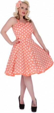Dámské retro šaty Dolly and Dotty Sylvia broskvové s bílou Dolly and Dotty  S610 77de22f17b